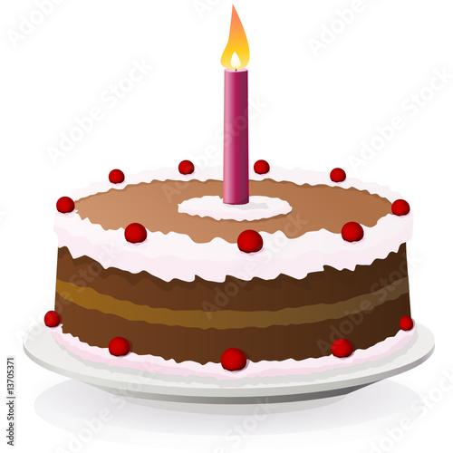 Gâteau d'anniversaire et sa bougie (reflet)