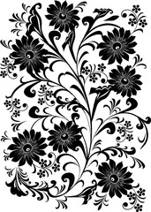 seven black flower background