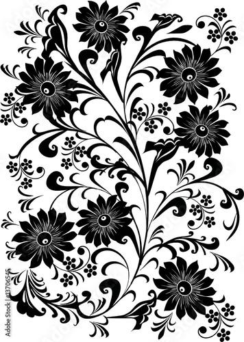Vector: seven black flower background