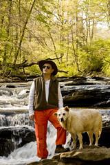 Man in Orange Pants with Dog