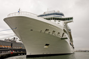White Cruise Ship Bow Tied Up