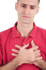Both man's hands on breast because of hard breathing, isolate