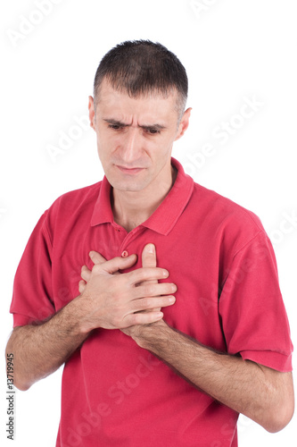 Man have problem with heart, isolate on white background