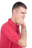 man holding hand on face because of toothache, isolate on white