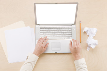 Papers Pencils Laptop