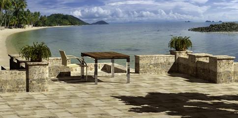 terrasse am strand mit freistellpfad