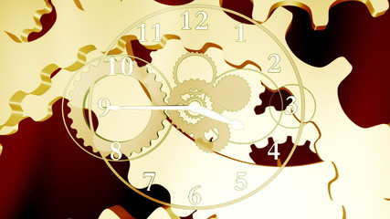 Golden gears and clock background (loop)