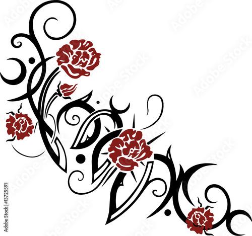 Tribal, Tattoo mit Rosen von christine krahl, lizenzfreier Vektor