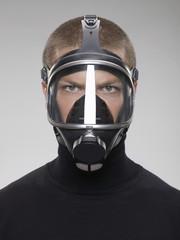 Man wearing gas mask