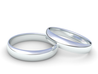 silver wedding rings isolated on a white background