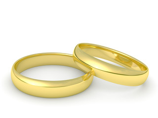 gold wedding rings isolated on a white background