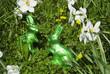 Chocolate Easter bunnies in flowers