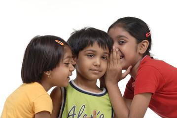 happy three children