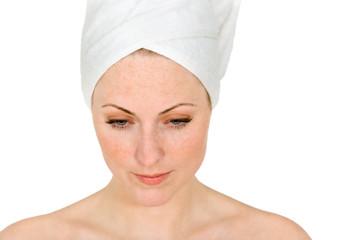Frau nach dem Schönheitsbad