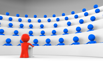 red man facing an audience of blue characters; 3d rendering