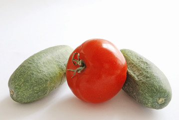 tomato and cucumbers