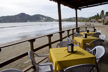 ocean front beach thatched roof restaurant nicaragua