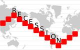 Economic recession graph poster
