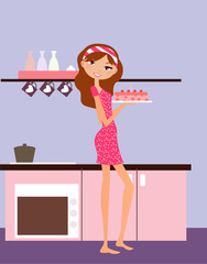 Vector illustration of young girl in the kitchen.