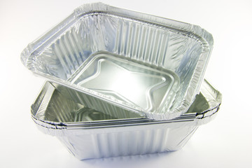 stack of square catering trays