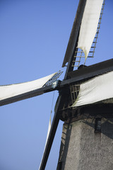 Close up of historical old Dutch Windmill in the Beemster