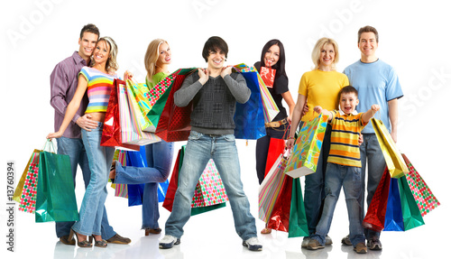 Happy shopping people. - 13760394