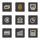 Finance web icons, grey buttons series