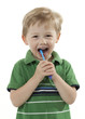 Boy Brushing Teeth with a Toothbrush