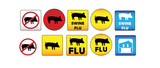 Swine Flu Signs of Danger and Attention poster