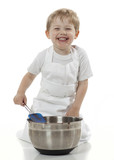 Young Chef with White Apron Having Fun Baking poster