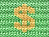 Green and gold dollar sign