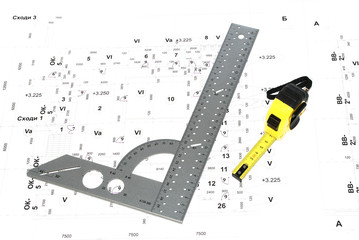 .The metal ruler and wiring diagram.