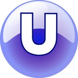 U character - blue 3d alphabet button
