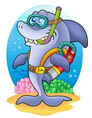Shark scuba diver on sea bottom