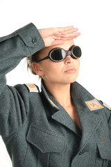 A girl in uniform saluted