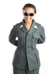 beautiful girl with glasses and military uniform