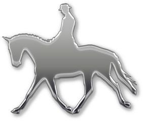 Reiter auf Pferd in Silber Reittunier