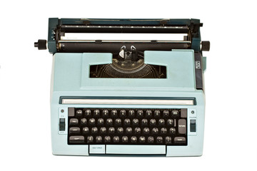 Old typewriter isolated with clipping path over white