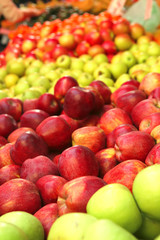 raw apples heap perspective