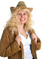 smiling blonde women in a straw hat