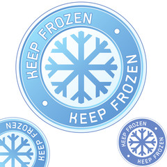 Keep frozen food product label badge and corner tab