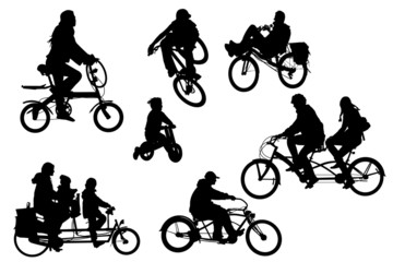 several different bicycle types collection