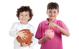 Two happy children with moneybox savings poster