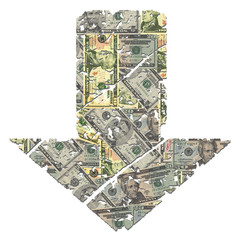 grunge down dollar arrow