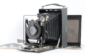 Antique camera with photo