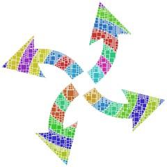 Quattro frecce in differenti direzioni