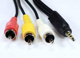 four audio video cord plug-and-sockets