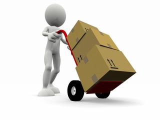 Trasporto pacchi con carrello