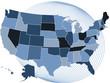 USA map with a stylized globe as background.