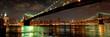 Panorama of Brooklyn and Manhattan Bridges at night